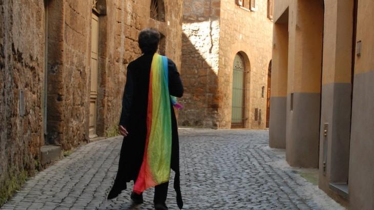 Cobblestones and Rainbow Scarf