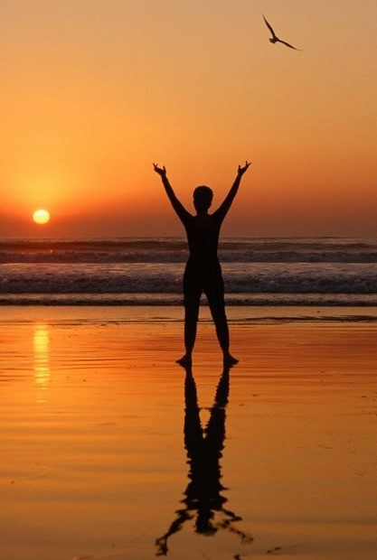 Silhouette of woman watching sunset on the beach